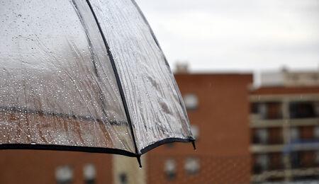 Water droplets on transparent umbrella