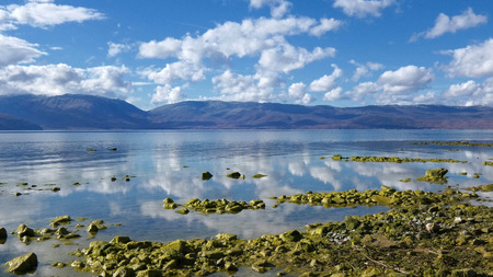Photo pour Lake Prespa, in Macedonia, image of a - image libre de droit