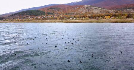 Photo pour Lake Prespa in Macedonia in november, ,drone photography - image libre de droit