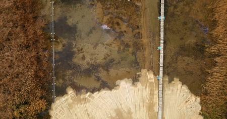 Photo pour lake prespa in macedonia, drone aerial view - image libre de droit