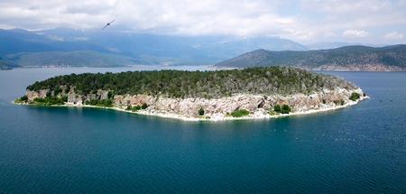 Photo pour island golem grad, lake prespa ,macedonia, aerial view - image libre de droit