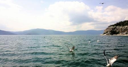 Photo pour island golem grad in a lake prespa,macedonia,image - image libre de droit