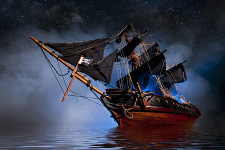 Photo pour Model Pirate Ship with fog and water - image libre de droit
