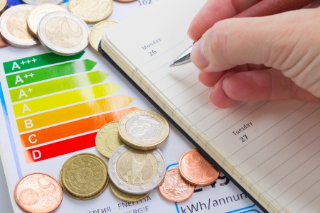 Photo for Energy efficiency concept with energy rating chart - Royalty Free Image