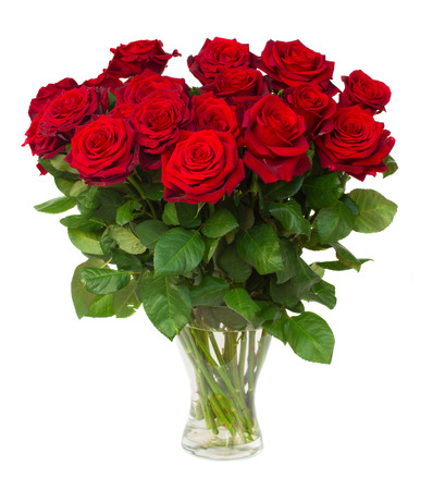 Photo for bouquet of blossoming dark red roses in vase isolated on white  - Royalty Free Image