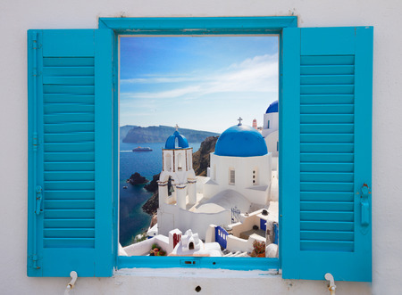 Photo for window with view of caldera  and church, Santorini - Royalty Free Image