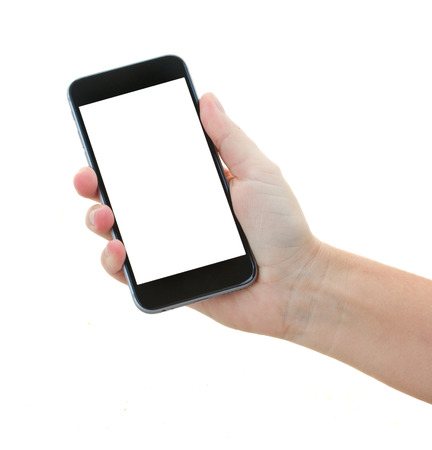 Photo pour hand holding a modern smartphone - image libre de droit