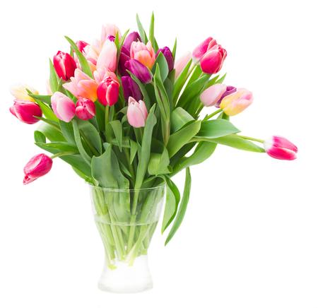 Photo pour bouquet of multicolored   tulip flowers in white pot - image libre de droit