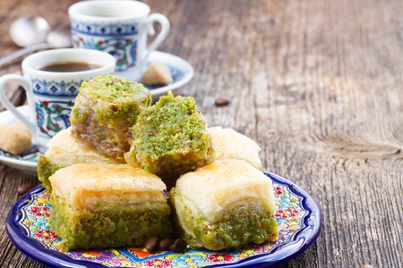 Photo for turkish delights - baklava traditional sweets with turkish coffee - Royalty Free Image