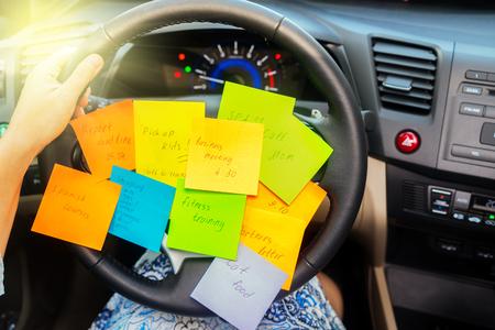 Photo pour To do list in a car - busy day concept - image libre de droit
