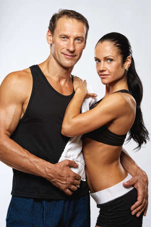 Beautiful athletic couple after training.