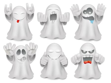 Ilustración de Set of cute cartoon ghost emoticon characters. Halloween big vector collection - Imagen libre de derechos