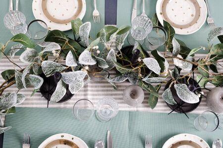 Foto de Table served for Christmas dinner. - Imagen libre de derechos