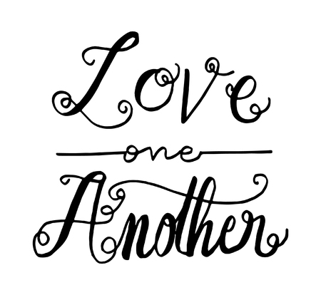 Photo pour love one another. Hand Lettered quote. Bible Verse. Modern calligraphy - image libre de droit