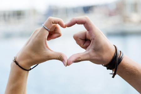 Photo for Portrait of happy young couple in love in the city. - Royalty Free Image