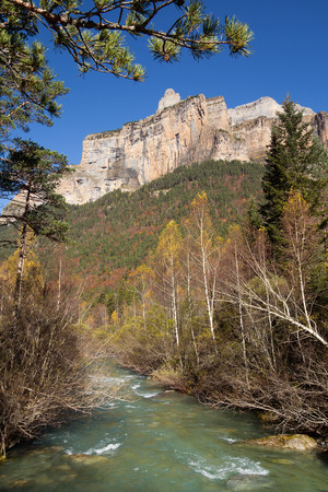 Photo for Autumn landscape in Ordesa National Park, Pyrenees, Huesca, Aragon, Spain - Royalty Free Image
