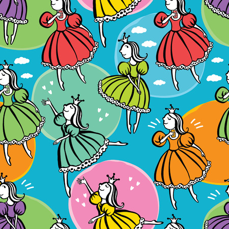 Little princess pattern Colorful background mural