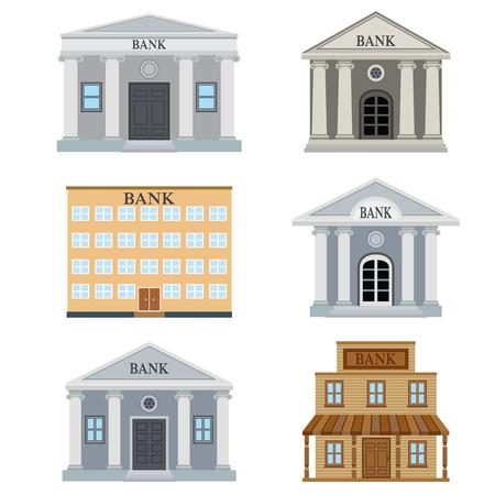 Foto de Set of bank buildings on the white background. - Imagen libre de derechos