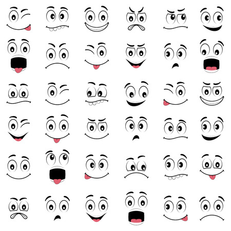 Ilustración de Cartoon faces with different expressions, featuring the eyes and mouth, design elements on white background - Imagen libre de derechos