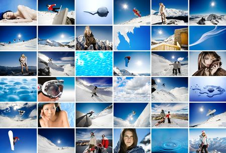 Wall of screens showing winter, snow and ice themed images