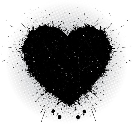 Ilustración de Black ink heart. Abstract vector illustration. - Imagen libre de derechos