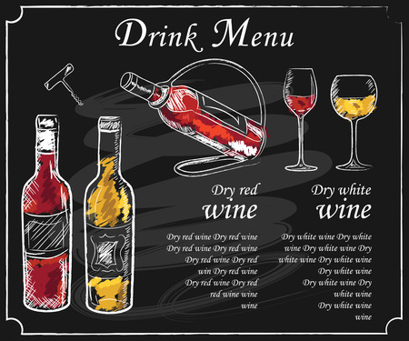 Illustration pour Drink menu elements on chalkboard. Restaurant blackboard for drawing. Hand drawn chalkboard  drink menu vector illustration. wine list, drink menu board, glass of the white wine and red wine - image libre de droit