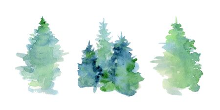 Ilustración de Watercolor abstract woddland, fir trees silhouette with ashes and splashes, winter background hand drawn illustration - Imagen libre de derechos