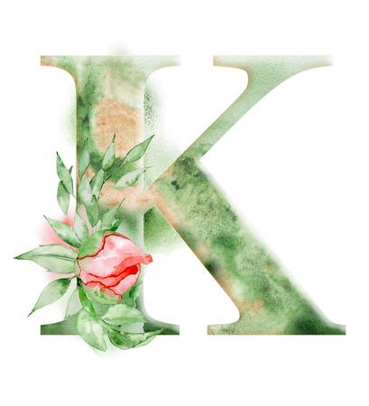 Foto de Floral watercolor alphabet. Monogram initial letter K design with hand drawn peony flower for wedding invitation, cards. - Imagen libre de derechos