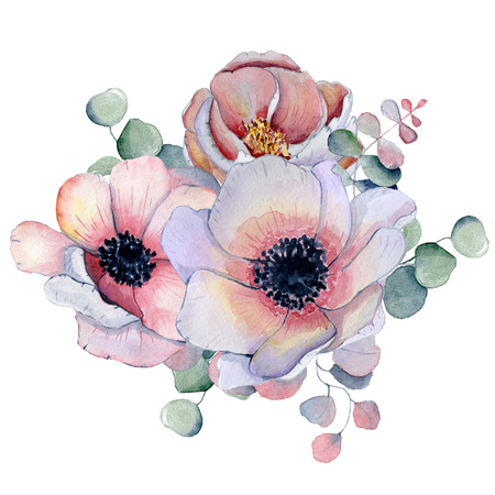 Photo for watercolor bouquet with anemone, peonies flowers and herbs Hand drawn illustration - Royalty Free Image