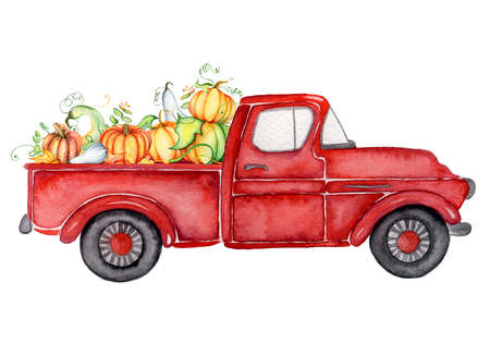 Photo pour Red harvest truck with pumpkins Thanksgiving hand drawn watercolor illustration - image libre de droit