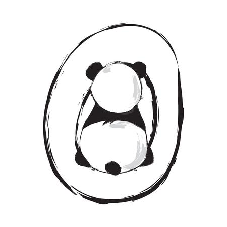 Illustration pour Panda bear cute animal english alphabet letter O with cartoon baby font illustrations - image libre de droit