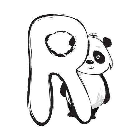 Illustration pour Panda bear cute animal english alphabet letter R with cartoon baby font illustrations - image libre de droit