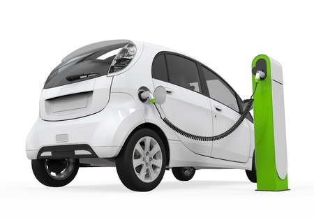 Photo pour Electric Car in Charging Station - image libre de droit