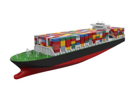 Photo for Cargo Container Ship Isolated - Royalty Free Image