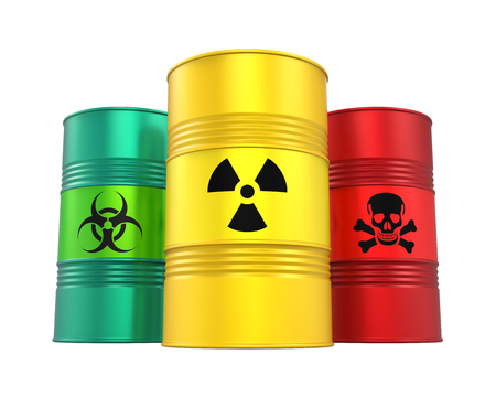 Photo pour Biohazard, Radioactive and Poisonous Barrels Isolated - image libre de droit