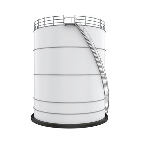 Photo pour White Industrial Oil Tank Isolated - image libre de droit