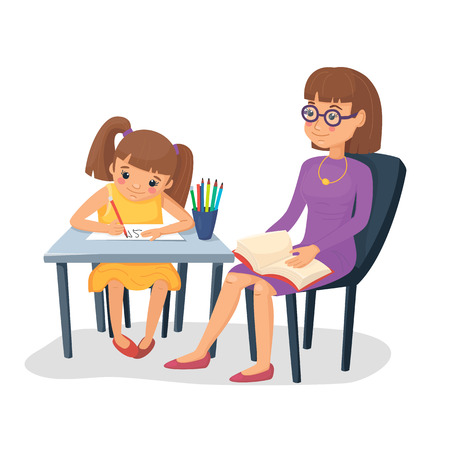 Illustration pour Mother helping her daughter with homework. Girl doing schoolwork with mom or teacher. Vector illustration. Cartoon flat style. - image libre de droit