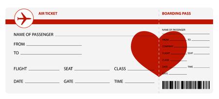 Ilustración de Blank plane tickets for romantic trip isolated on white background. Vector illustration - Imagen libre de derechos