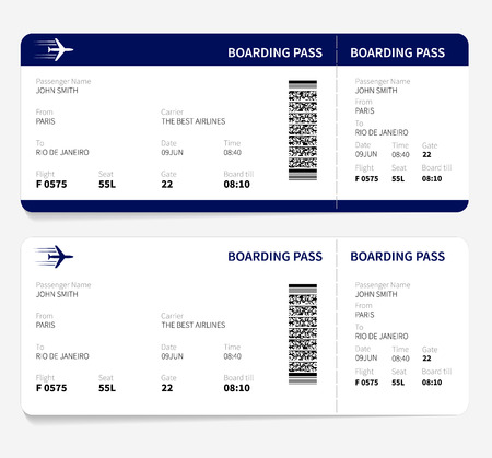 Ilustración de Airline boarding pass ticket for traveling by plane. Vector illustration. - Imagen libre de derechos
