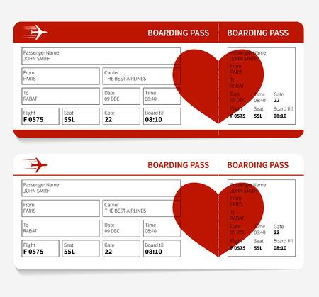 Ilustración de Vector template of airline boarding pass tickets with heart - Imagen libre de derechos