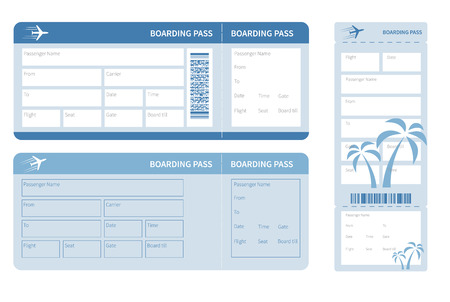 Illustration pour Airline boarding pass. Blue ticket isolated on white background. Vector illustration - image libre de droit
