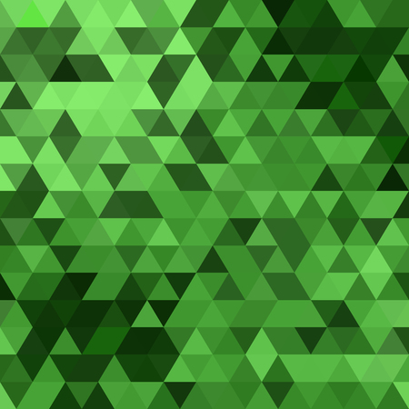 Illustration for Triangles vector green background design. Seamless pattern. Abstract modern mosaic pattern. Retro poster, card,flyer or cover template. - Royalty Free Image