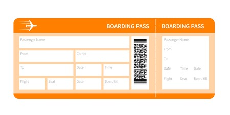 Illustration pour Airplane ticket blank space. yellow boarding pass coupon isolated on white background. Vector illustration - image libre de droit