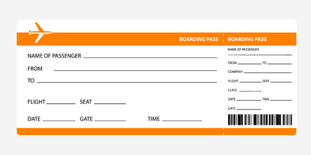 Illustration pour Airplane ticket blank space. orange boarding pass coupon isolated on white background. Detailed blank of plane ticket. Vector illustration - image libre de droit