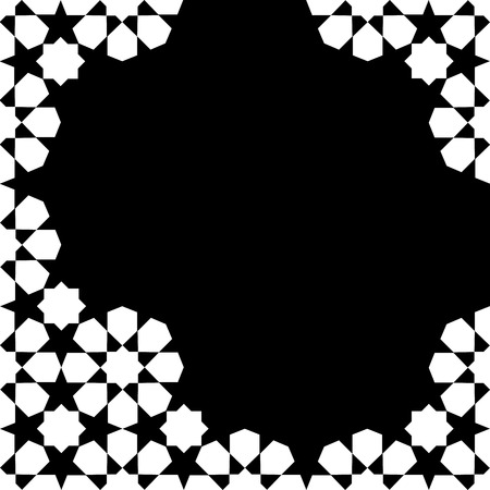 Illustration pour white and black moroccan zellige mosaic template. vector illustration - image libre de droit