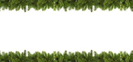 Foto de Christmas tree branches on white background as a border or template for christmas card - Imagen libre de derechos