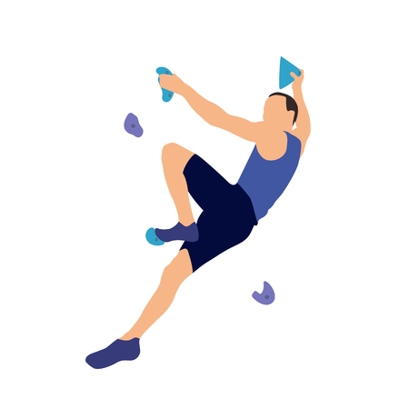 Illustration pour Man climbs on a climbing wall in a climbing gym isolated on a white background. Vector illustration. - image libre de droit