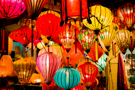 Foto per Colorful lanterns at the market street of Hoi An Ancient Town. Vietnam. - Immagine Royalty Free