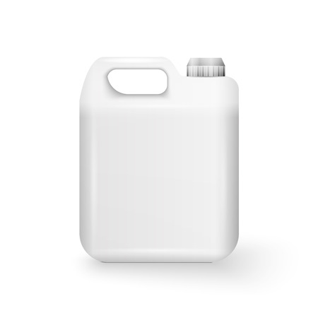 Illustration pour White Plastic Jerrycan Oil, Cleanser, Detergent, Abstergent, Liquid Soap, Milk, Juice On White Background Isolated. - image libre de droit