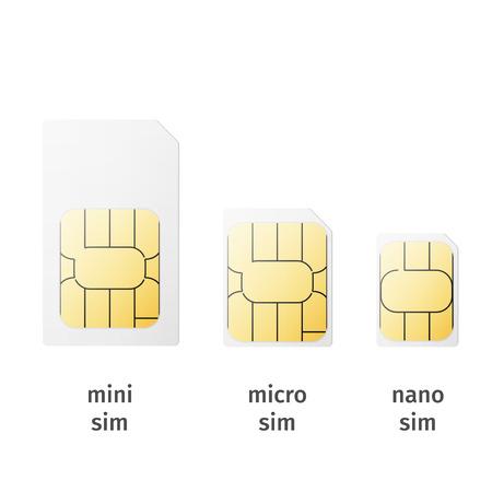 Illustrazione per Set of SIM cards of different sizes(mini, micro, nano) isolated on white background. Vector - Immagini Royalty Free